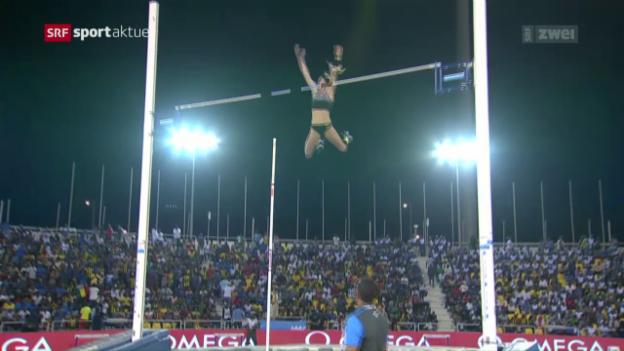 Video «Büchler springt in Doha Schweizer Rekord» abspielen