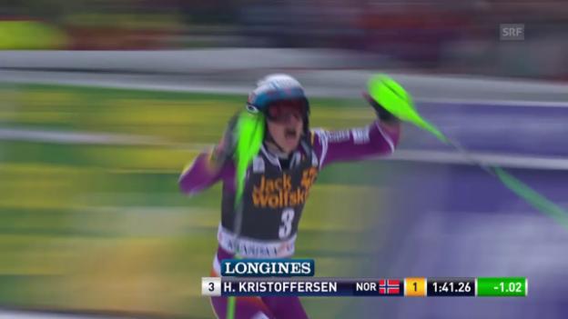 Video «Ski: Weltcup-Slalom in Kranjska Gora, 2. Lauf Henrik Kristoffersen» abspielen