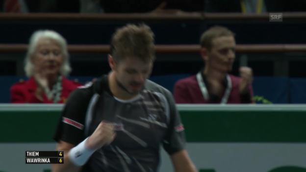 Video «Tennis: ATP Paris-Bercy, Wawrinka-Thiem, entscheidende Ballwechsel» abspielen
