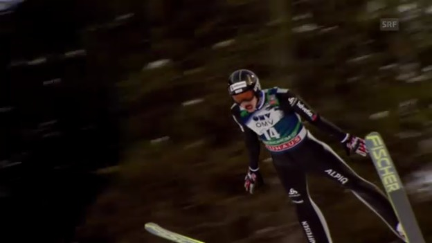Video «Skispringen Trondheim: 1. Sprung von Gregor Deschwanden (unkommentiert)» abspielen