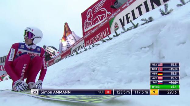 Video «Skispringen: Vierschanzentournee, Innsbruck, 2. Sprung Simon Ammann» abspielen