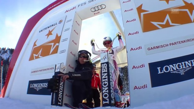 Video «Ski: Frauen-Abfahrt in Garmisch-Partenkirchen, Fahrt von Tina Weirather» abspielen