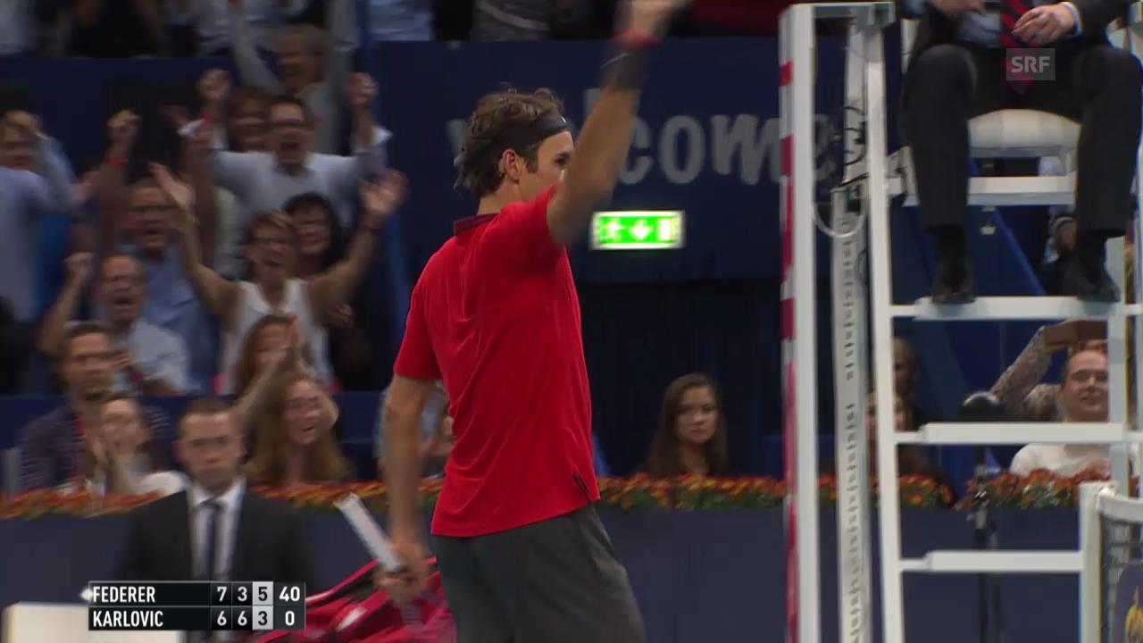 Tennis: Swiss Indoors, Halbfinal, Federer - Karlovic