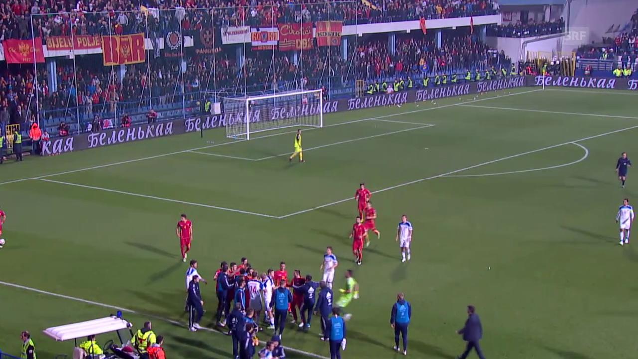 Fussball: Spielabbruch bei Montenegro-Russland