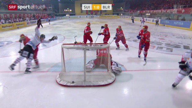 Video «Eishockey: Final der Arosa Challenge, Weissrussland - Schweiz» abspielen