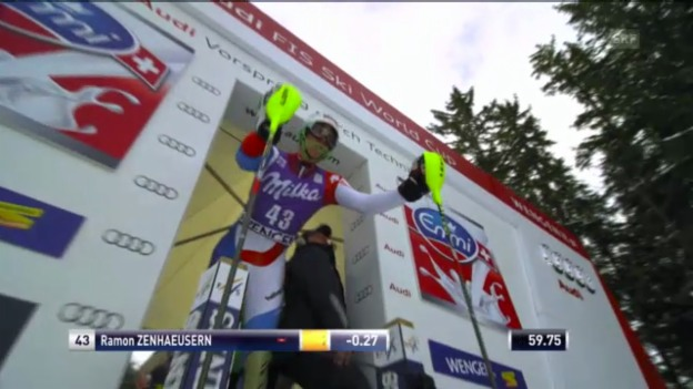 Video «Ski alpin: 2. Slalomlauf von Zenhäusern in Wengen («sportlive»)» abspielen