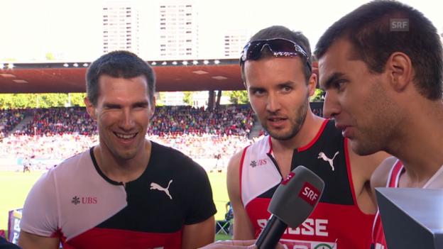 Video «Leichtathletik-EM: Interview mit dem Schweizer 4x400-m-Staffelteam» abspielen