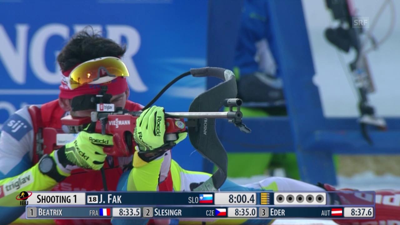 Biathlon: Weltcup Nove Mesto, Sprint Männer, Zieleinlauf Fak