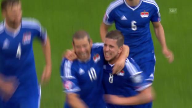 Video «Fussball: EURO-Qualifikation, Gruppe G, Liechtenstein - Moldawien, Tor Wieser zum 1:0» abspielen