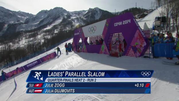 Video «Snowboard: Parallel-Slalom Frauen, das Ausscheiden von Julie Zogg (sotschi direkt, 22.2.2014)» abspielen