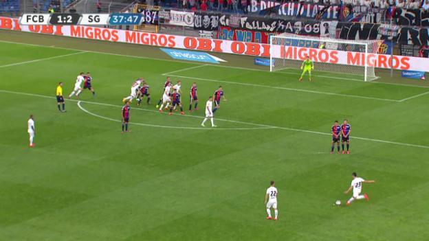 Video «Fussball: Super League, Basel - St.Gallen, Aleksic trifft zum 1:2» abspielen