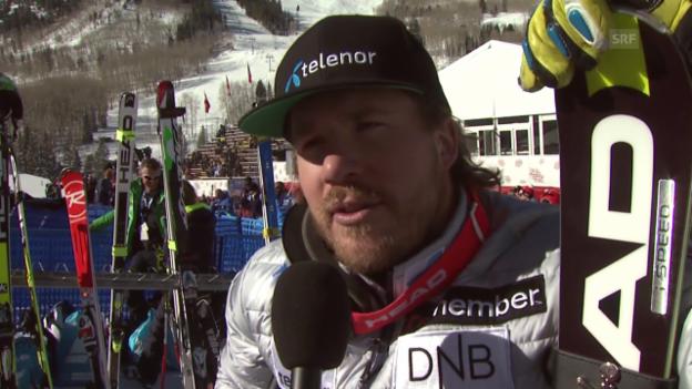 Video «Ski alpin: Kjetil Jansrud nach seiner Trainingsbestzeit in Beaver Creek» abspielen