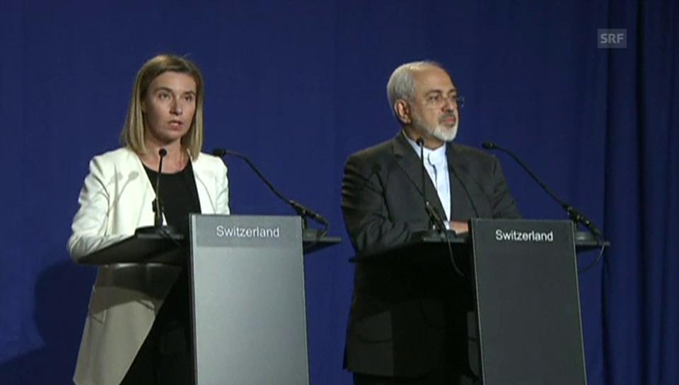 Morgherini und Sarif verkünden Einigung (engl. Originalton)