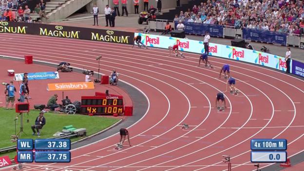 Video «Leichtathletik: Diamond League London, 4x100m Staffel» abspielen