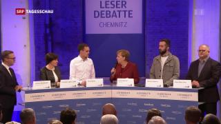 Video «Merkel stellt sich unangenehmen Fragen » abspielen