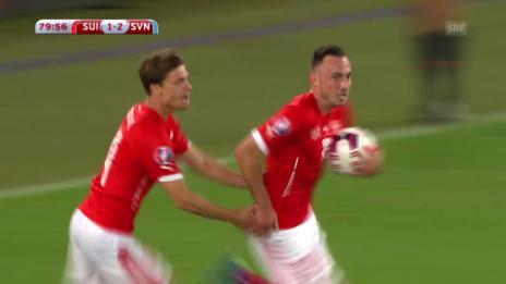 Video «Fussball: EM-Quali, Schweiz - Slowenien, Tor zum 1:2» abspielen