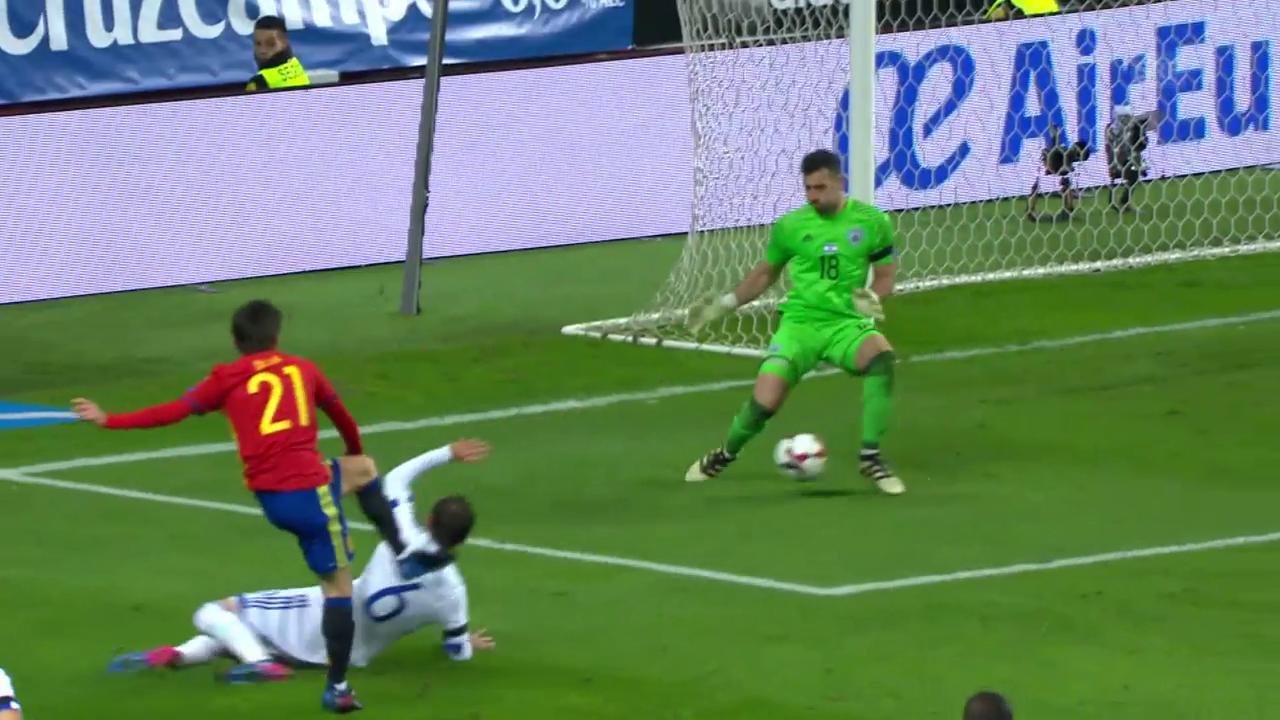Tunnel – Tunnel – Tor: Spaniens Treffer zum 1:0 gegen Israel