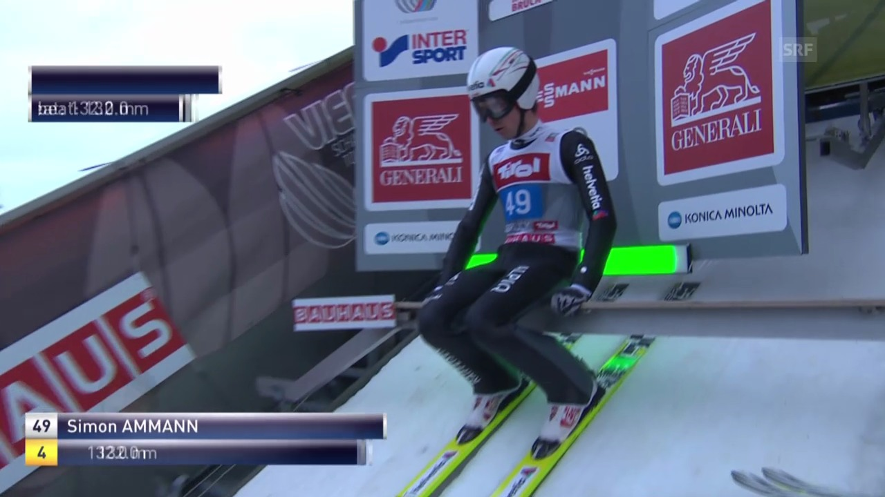 Skispringen: 2. Sprung Simon Ammann