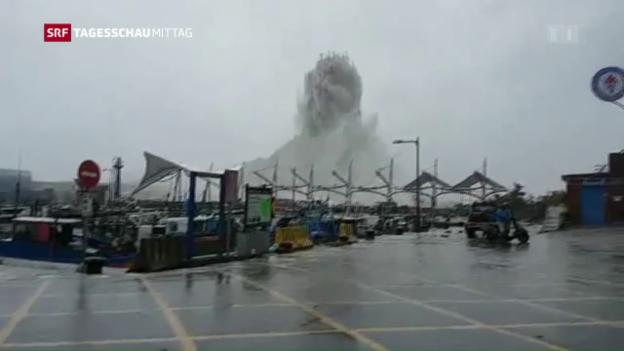 Video «Super-Taifun tobt über Taiwan» abspielen
