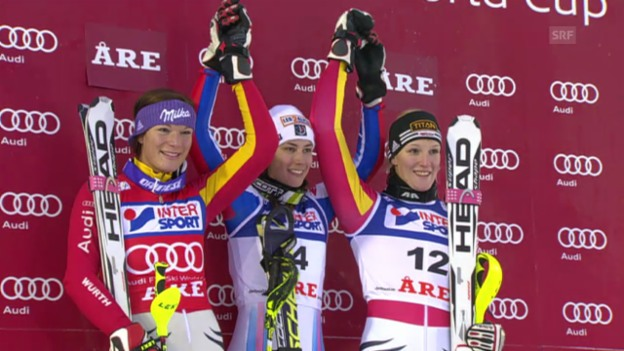 Video «Ski: Slalom Are 2009, Susanne Rieschs 1. Weltcup-Podest» abspielen