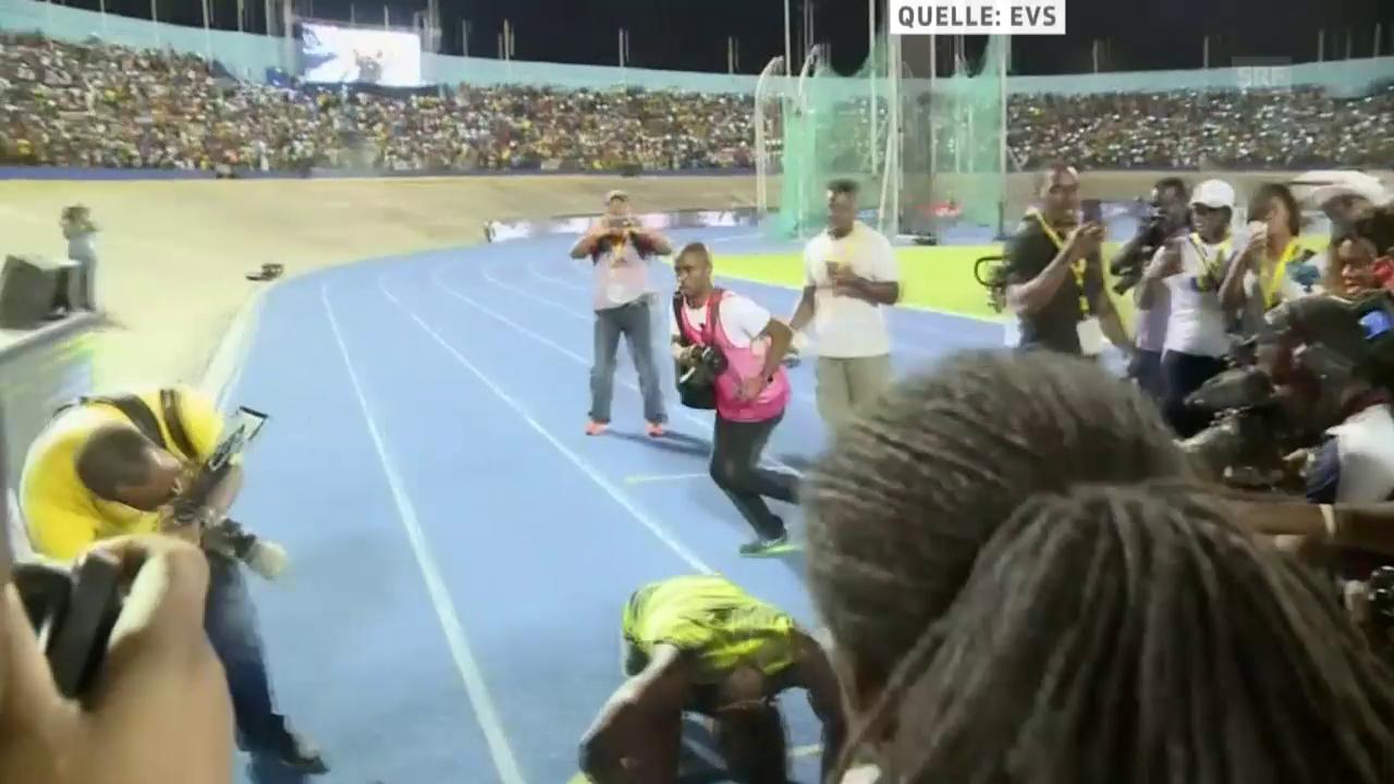 Bolt küsst zum Abschied die blaue Bahn