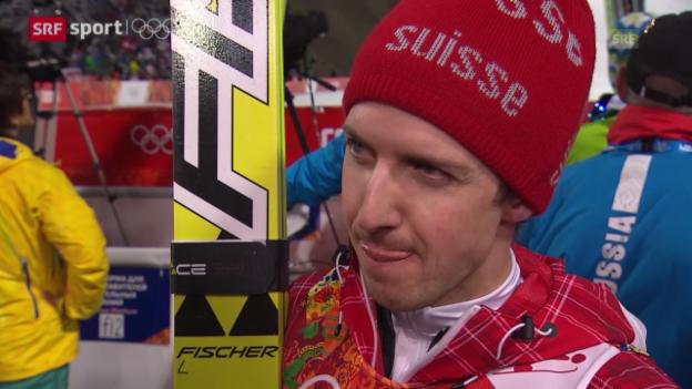 Video «Skispringen, Männer: Interviews mit Ammann und Deschwanden (sotschi aktuell, 15.02.2014)» abspielen