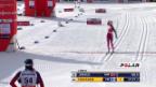 Video «Langlauf: Weltcup Davos, 10 km klassisch Frauen, Zieleinlauf Therese Johaug» abspielen