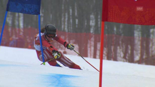 Video «Ski: Riesenslalom Frauen, 2. Lauf Suter (sotschi direkt, 18.2.2014)» abspielen