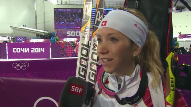 Video «Biathlon: Sprint 7,5km Frauen, Interview Elisa Gasparin (sotschi direkt, 9.2.2014)» abspielen