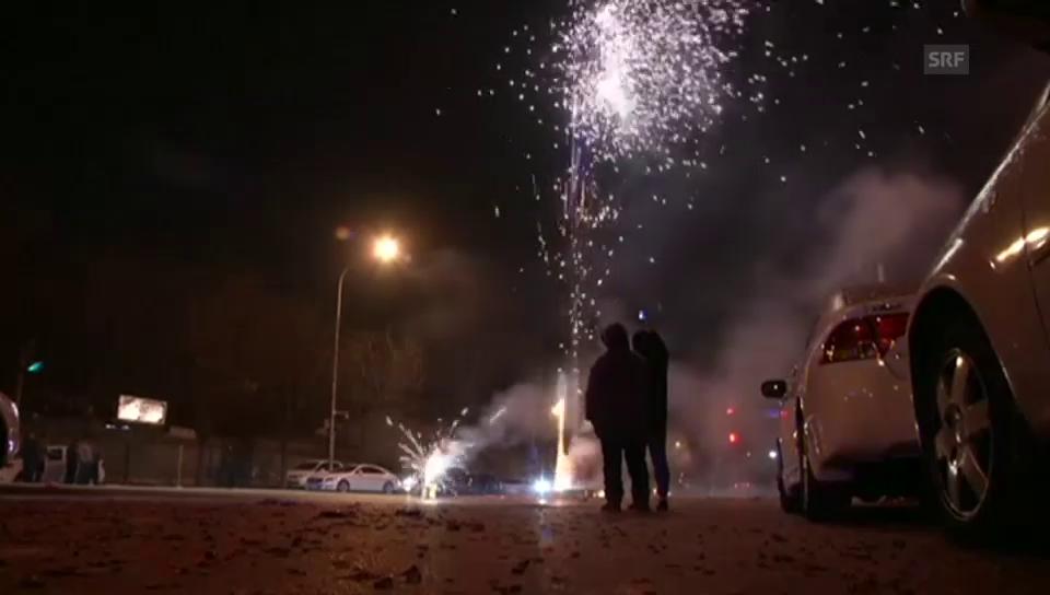 Raketen und Böller zum chinesischen Neujahr