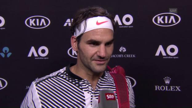 Video «Federer nach seinem 1. Spiel über die Bedingungen» abspielen