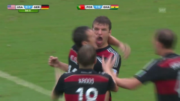 Video «FIFA WM 2014: Thomas Müller erzielt das 1:0 gegen die USA» abspielen