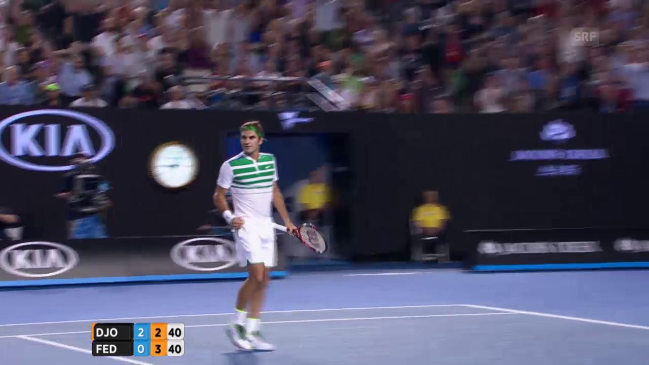 Federer mit tollem Punkt zum Breakball
