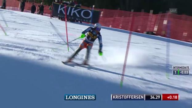 Video «Ski Alpin: Slalom Kranjska Gora, 1. Lauf Henrik Kristoffersen («sportlive», 9.3.2014)» abspielen