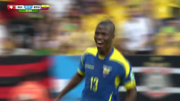 Video «Schweiz-Ecuador: Das 0:1 durch Enner Valencia» abspielen