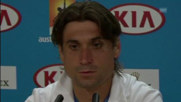Video «Tennis: Australian Open, David Ferrer und Nicolas Almagro nach ihrem Marathon-Achtelfinal» abspielen