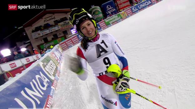Video «Ski: Der Slalom der Frauen in Flachau» abspielen