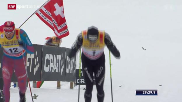 Video «Cologna quält sich in Val di Fiemme verletzt ins Ziel» abspielen