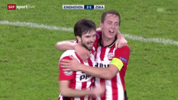 Video «Fussball: Champions League, Zusammenfassung Eindhoven-ZSKA Moskau» abspielen