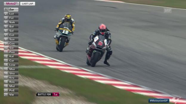 Video «Motorrad: Moto2 GP Malaysia, die letzte Runde» abspielen