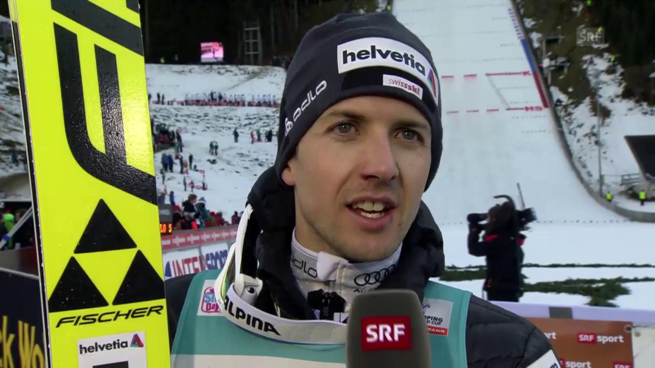 Skispringen: Engelberg 20.12.2015, Interview Simon Amman nach 2. Durchgang