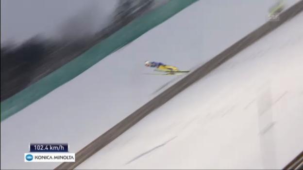 Video «Skifliegen Vikersund: 1. Sprung Ammann» abspielen