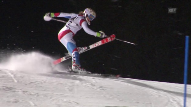 Video «Ski: Slalom Flachau, 2. Lauf Gisin» abspielen
