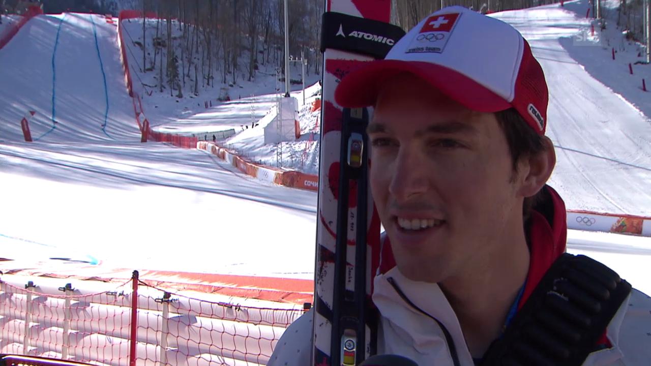 Sotschi, Ski alpin: 1. Abfahrtstraining der Männer, Interview mit Carlo Janka