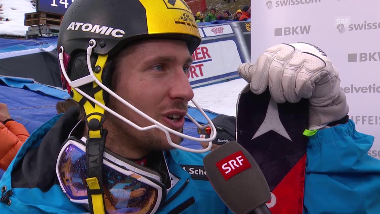 Marcel Hirscher nach seinem 2. Platz im Adelboden-Slalom