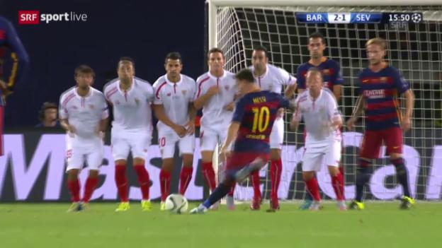 Video «Fussball: Messis Freistoss-Tore im Supercup gegen Sevilla» abspielen