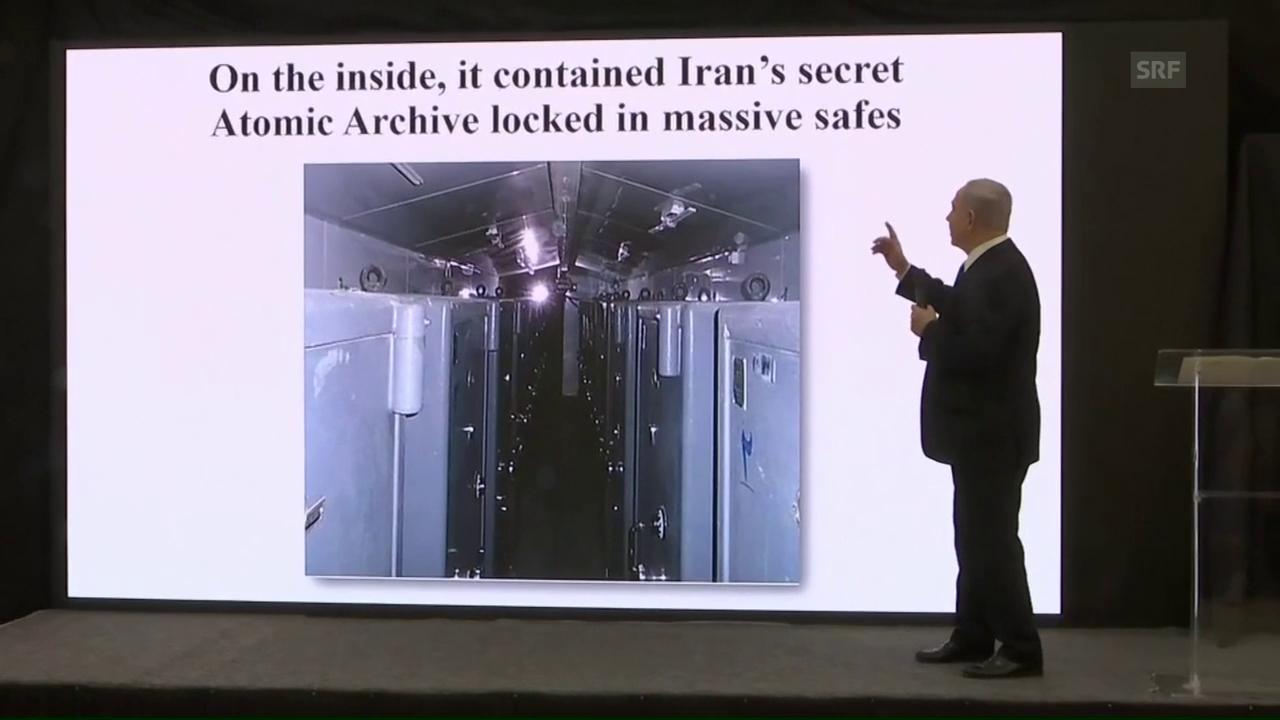 Netanjahu präsentiert das «geheime Atomarchiv» (engl.)