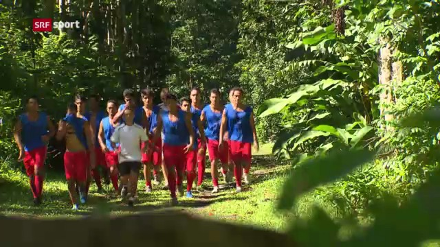 Die Amateure von der Südseeinsel Tahiti vor dem Confed-Cup