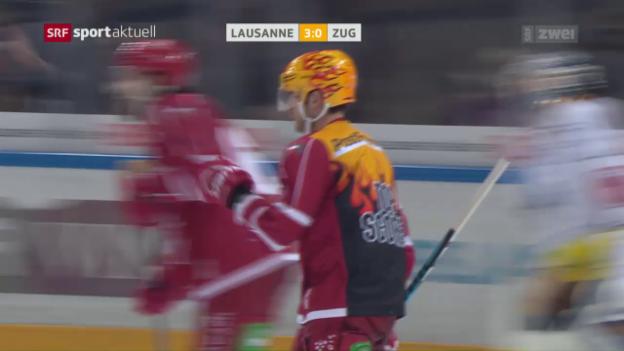 Video «Lausanne schlägt Zug – Huet mit Shutout» abspielen