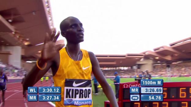 Video «Leichtathletik: Diamond League Monaco, Kiprop mit Hammerzeit über 1500m» abspielen